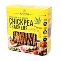 Chickpea crackers with hemp seeds